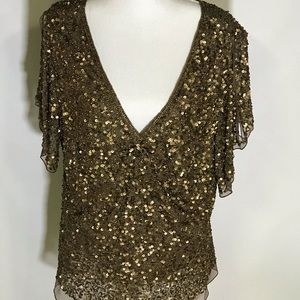 🍍Adrianna papell sequin blouse
